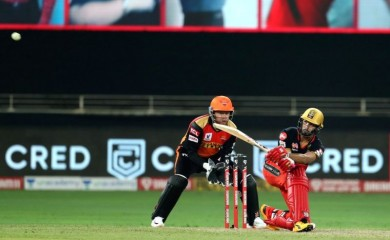 Devdutt Padikkal of Royal Challengers Bangalore brings up his fifty during match 3 of season 13 of the Dream 11 Indian Premier League (IPL) between Sunrisers Hyderabad and Royal Challengers Bangalore held at the Dubai International Cricket. Image Source: IANS News