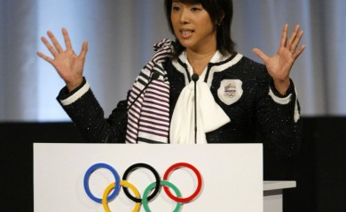 FILE PHOTO: Mikako Kotani, Chair of the Tokyo 2016 Athletes' Commission and Olympic medallist, presents the city of Tokyo's candidature for the 2016 Olympic Games to International Olympic Committee (IOC) members during the 121st IOC session in Copenhagen October 2, 2009. REUTERS/Denis Balibouse (DENMARK)