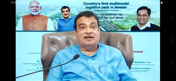 Union Minister for Road Transport, Highways and MSMEs Nitin Gadkari addressing the event for laying of foundation stone for country's first Multi-modal Logistic Park in Assam on October 20. (PIB Photo)