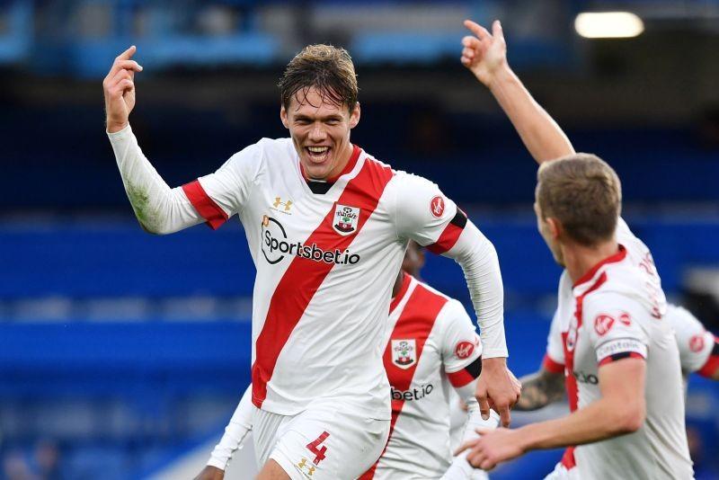 Southampton's Jannik Vestergaard celebrates scoring their third goal Pool via REUTERS/Ben Stansall