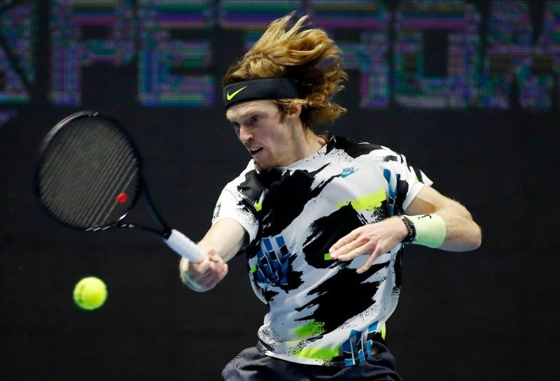 Russia's Andrey Rublev in action during his semi final match against Russia's Denis Shapovalov REUTERS/Anton Vaganov