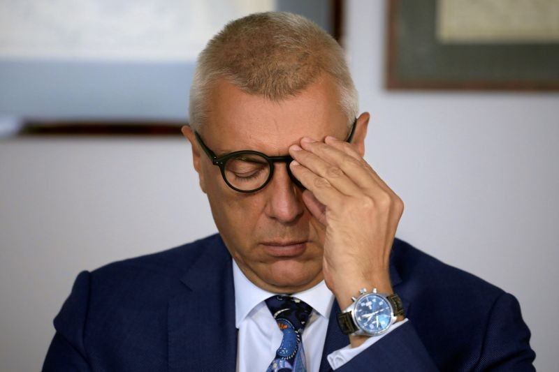 A lawyer and former deputy prime minister Roman Giertych during a press conference in his office in Warsaw, Poland, August 29, 2019. Maciek Jazwiecki/Agencja Gazeta/via REUTERS