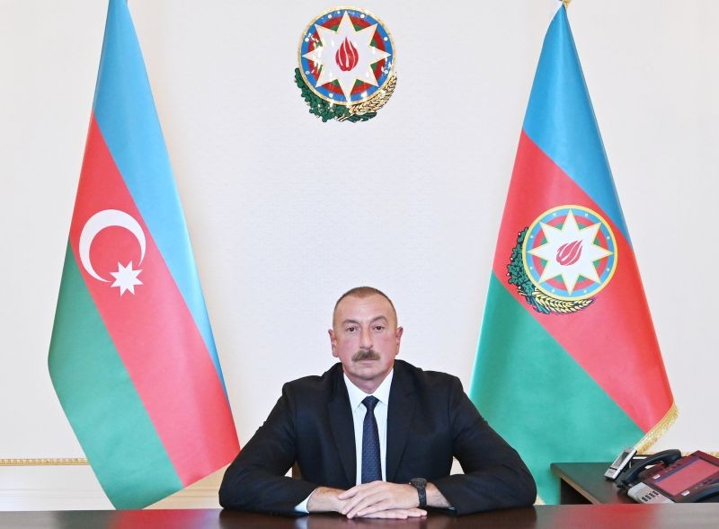 Azerbaijan's President Ilham Aliyev is pictured during an address to the nation in Baku, Azerbaijan on October 4, 2020. (REUTERS Photo)