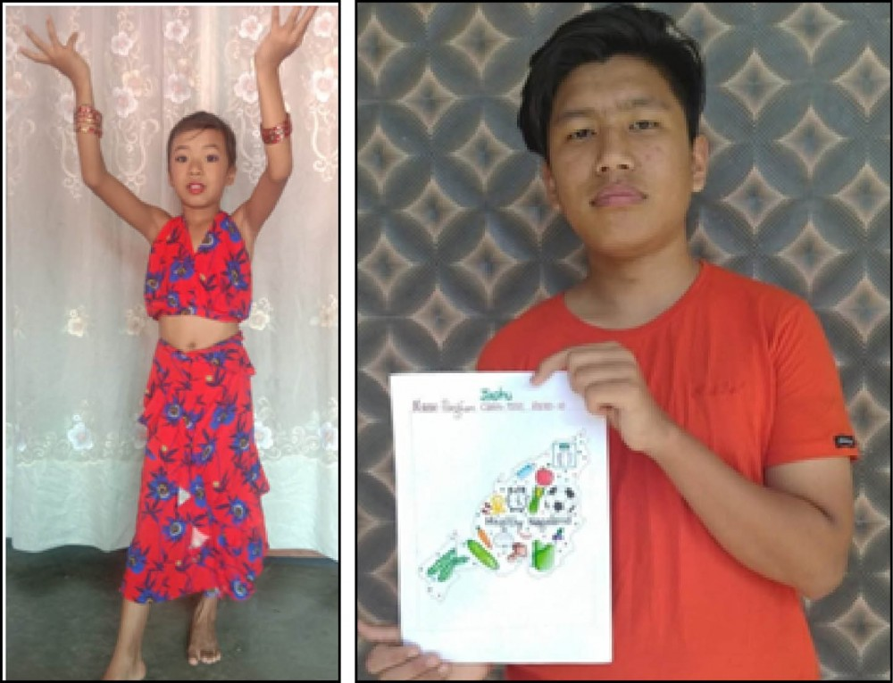 (Left) Imtinaro who won the dance event in the junior category; and (Right) Pangkam, winner of the senior category poster event of the Christina Memorial Higher Secondary School online inter house competition. The competition was held for three categories: Sub junior, Junior and Senior on the following items—essay writing, singing, dancing and painting.