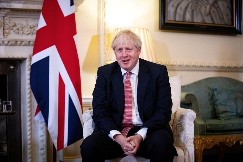 Britain's Prime Minister Boris Johnson meets Ukraine's President Volodymyr Zelenskiy (not pictured) in Downing Street in London, Britain October 8, 2020. (REUTERS File Photo)
