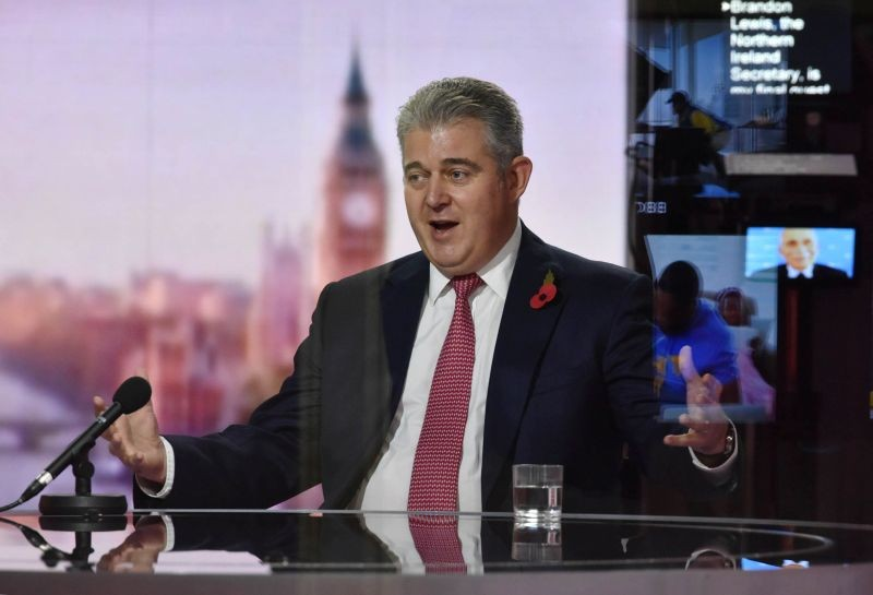 Britain's Secretary of State for Northern Ireland Brandon Lewis appears on BBC TV's The Andrew Marr Show in London, Britain October 25, 2020. (REUTERS Photo)