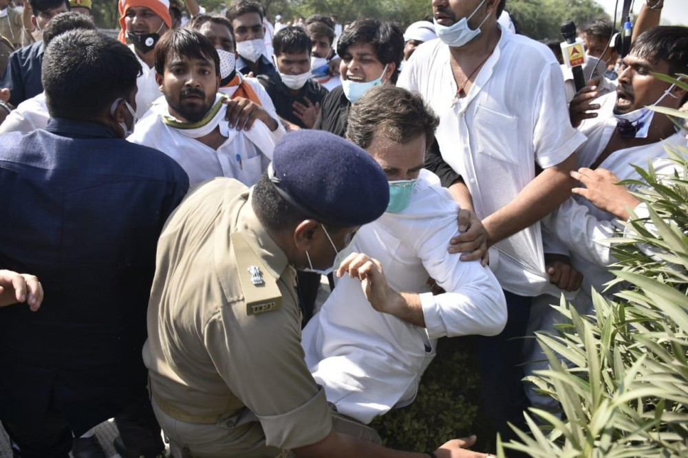 Rahul Gandhi, along with his sister Priyanka Gandhi Vadra and other senior leaders had left Delhi on October 1 to meet the family of the Hathras rape victim. (Photo: @ians_india / Twitter)