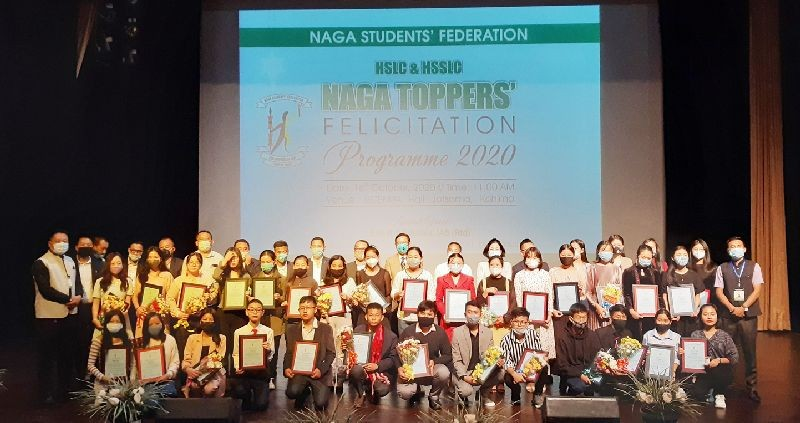 Naga HSLC and HSSLC toppers along with officials during the toppers' felicitation programme held at RCEMPA Hall, Jotsoma on October 16. (Morung Photo)