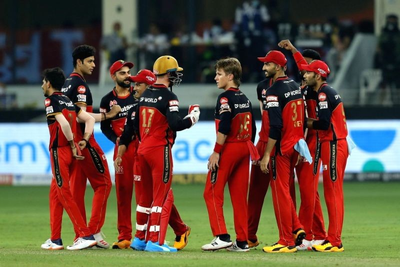 Dubai: The Royal Challengers Bangalore celebrates the wicket of Hardik Pandya of Mumbai Indians during match 10 of season 13 of the Dream 11 Indian Premier League (IPL) between The Royal Challengers Bangalore and The Mumbai Indians held at the Dubai . Image Source: IANS News