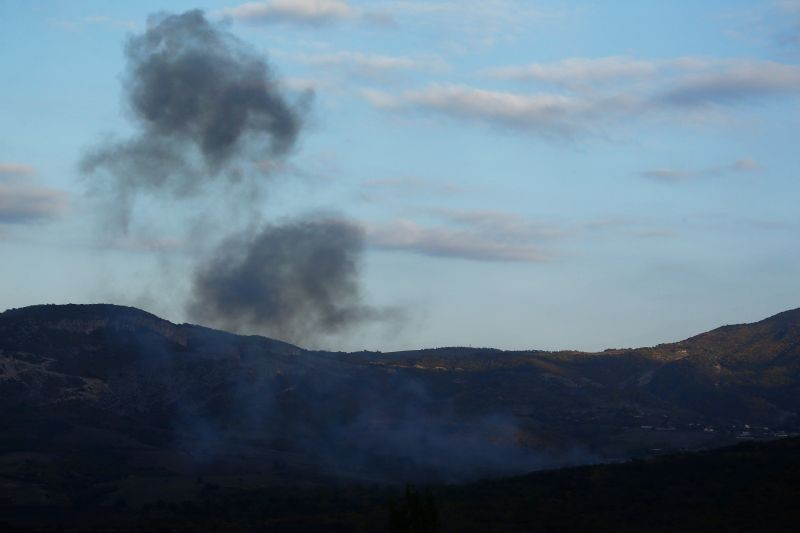 A smoke rises after recent shelling during the military conflict over the breakaway region of Nagorno-Karabakh, in Stepanakert October 9 , 2020. (REUTERS Photo)