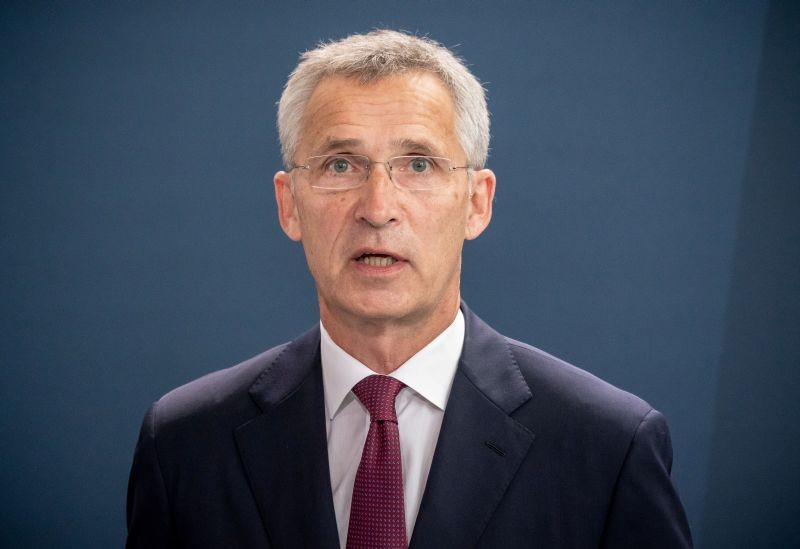 NATO Secretary General Jens Stoltenberg speak to reporters after meeting German Chancellor Angela Merkel at chancellery in Berlin, Germany on August 27, 2020. (REUTERS File Photo)