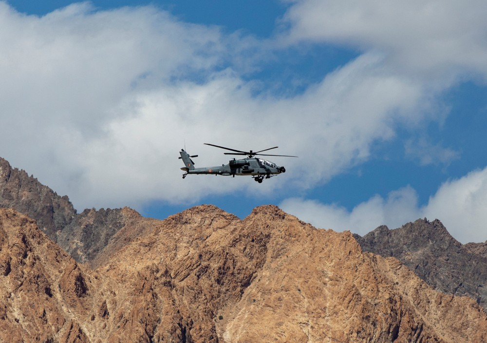 FILE PHOTO: An Indian Air Force's Apache helicopter is seen in the Ladakh region, September 17, 2020. REUTERS/Danish Siddiqui