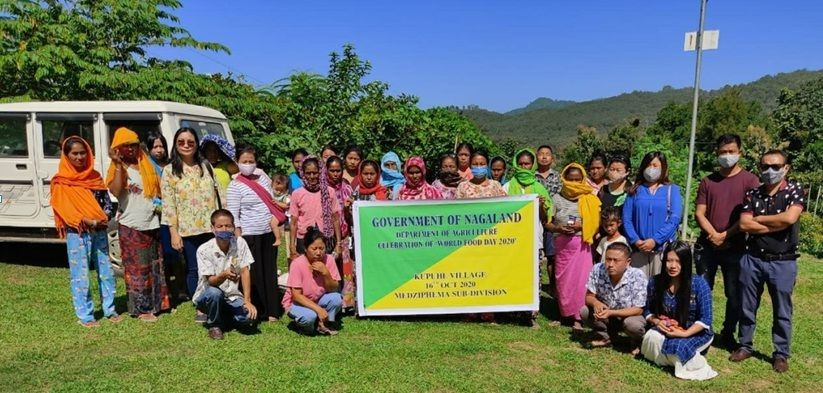 SDAO, Medziphema staff along with participants during the celebration of World Food Day held at Kupuhe village under Medziphema Sub-Division on October 16.
