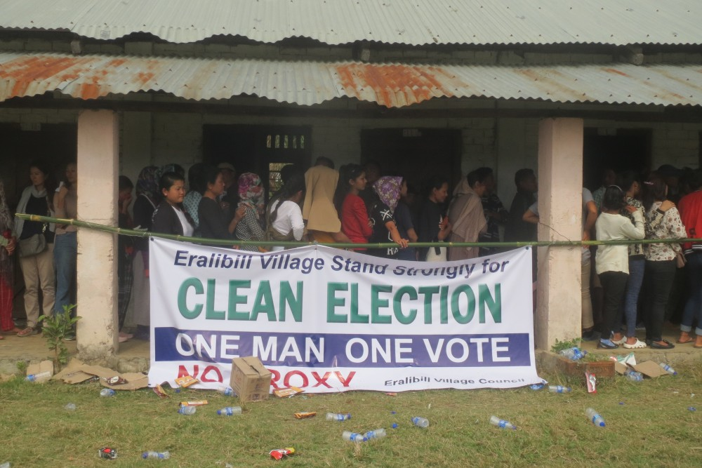 A 'Clean Election' banner outside a polling station in Dimapur during Nagaland Legislative Assembly election on February 27, 2018. (Morung File Photo)