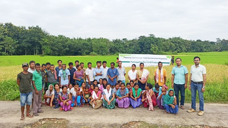Participants with officials during the field day cum farmers'-scientist interaction programme on participatory rice seed production held at Amaluma village of Dimapur district on October 22.
