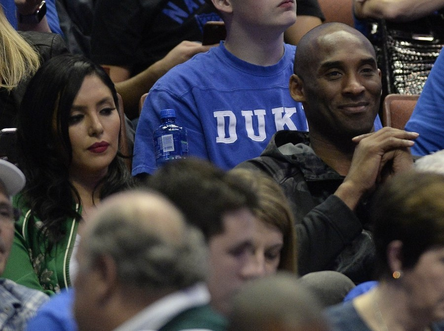March 24, 2016; Anaheim, CA, USA; Los Angeles Lakers player Kobe Bryant and wife Vanessa Bryant in attendance as the Duke Blue Devils play against Oregon Ducks during the first half of the semifinal game in the West regional of the NCAA Tournament at Honda Center. Mandatory Credit: Richard Mackson-USA TODAY Sports / Reuters/ Picture Supplied by Action Images/Files