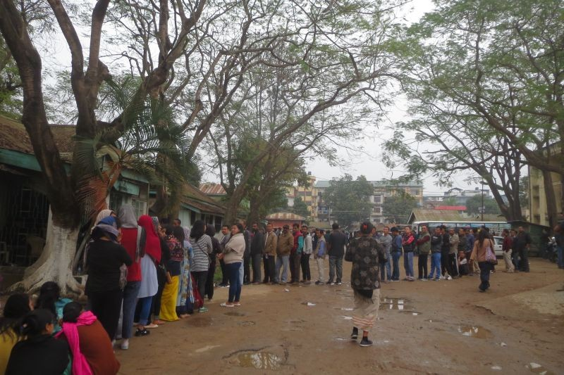 Voters in Dimapur stand in line to cast their vote during the election to 13th Nagaland Legislative Assembly on February 27, 2018. (Morung File Photo)