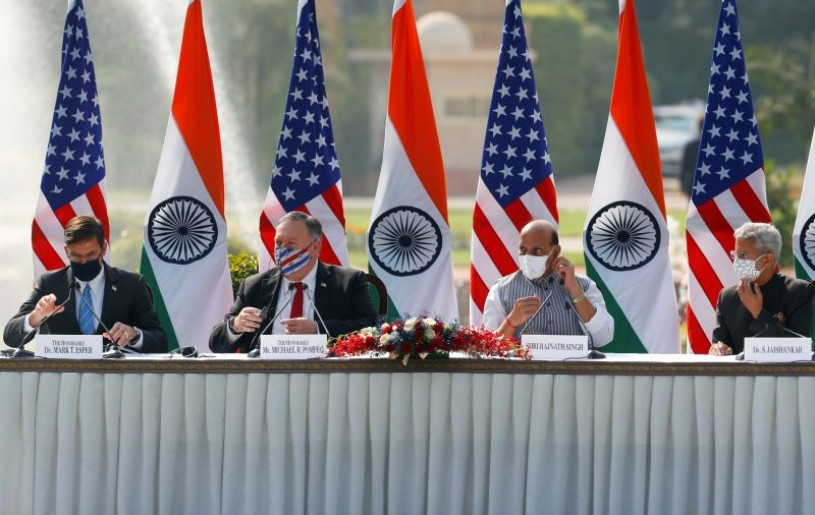 U.S. Secretary of State Mike Pompeo, U.S. Secretary of Defence Mark Esper, India's Foreign Minister Subrahmanyam Jaishankar and India's Defence Minister Rajnath Singh attend a joint news conference after their meeting at Hyderabad House in New Delhi on October 27, 2020. (REUTERS Photo)