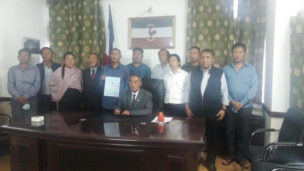 NPF's  candidate for bye-election to the 14 Southern Angami -1 AC, Kikovi Kirha with Party President  Dr Shürhozelie Liezietsu and others during the handing over of  the ticket at the NPF Central Office, Kohima on October 15.