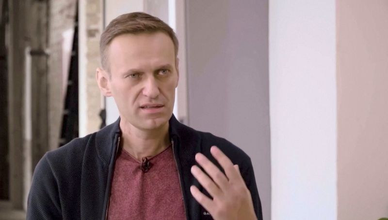 Russian opposition politician Alexei Navalny speaks during an interview with prominent Russian YouTube blogger Yury Dud, in Berlin, Germany, in this still image taken from a handout video released October 6, 2020. (REUTERS Photo)