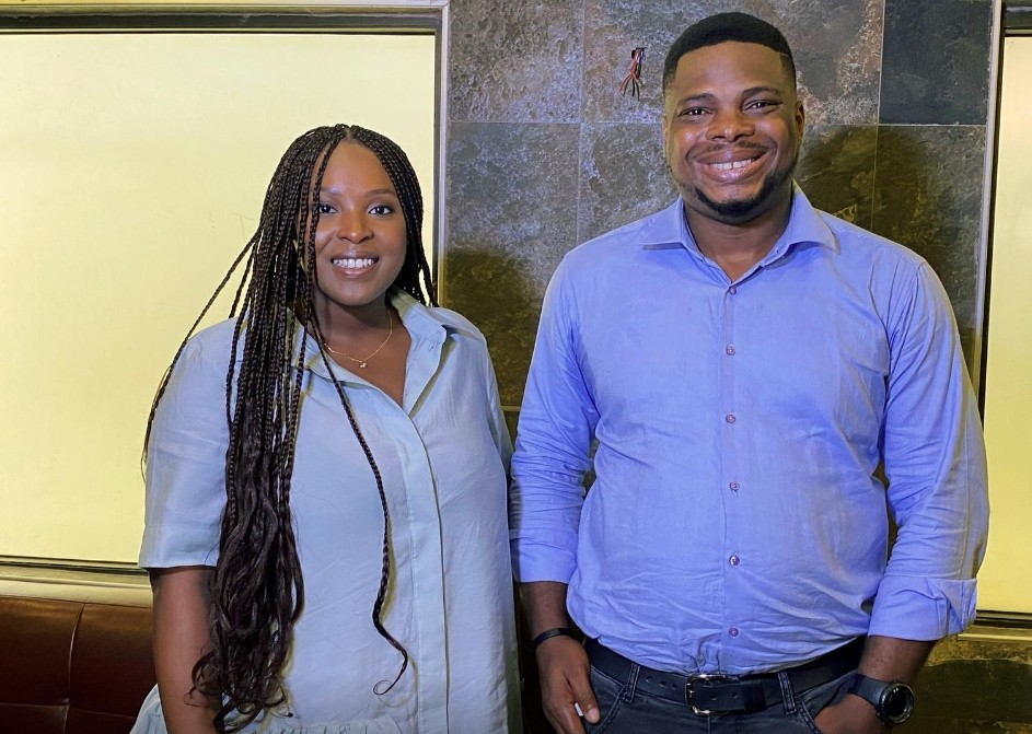 Temidayo Makanjuola and James Amuta, co-producers of Oloture film, pose for a picture during an interview with Reuters in Lagos, Nigeria October 8, 2020. REUTERS/Seun Sanni