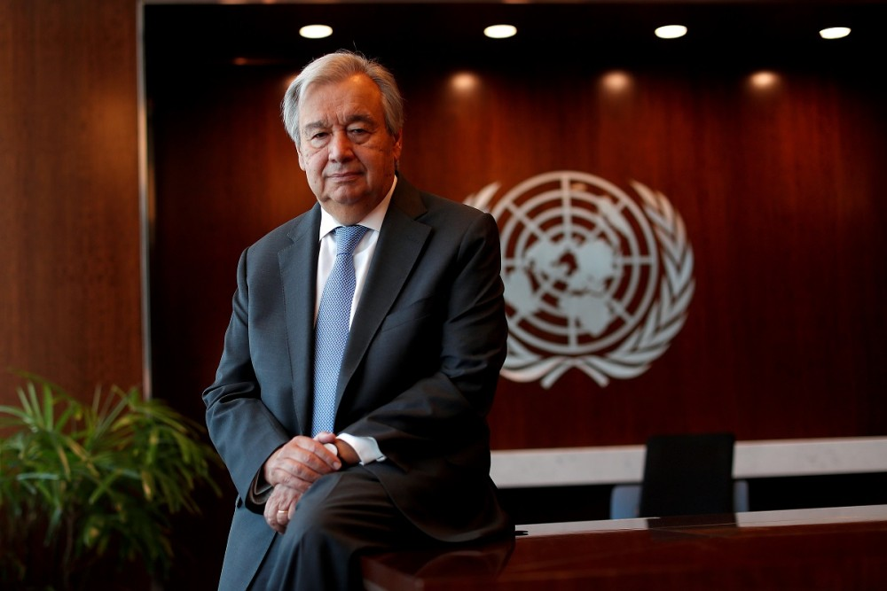 FILE PHOTO: United Nations Secretary-General Antonio Guterres poses for a photograph during an interview with Reuters at U.N. headquarters in New York City, New York, U.S., September 14, 2020. REUTERS/Mike Segar/File Photo