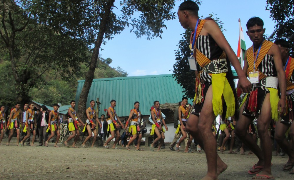 A dance troupe in action during the Hornbill Festival at the Naga Heritage village, Kohima. The State not prepared to host festivals, say health officials on October 28. (Morung File Photo)
