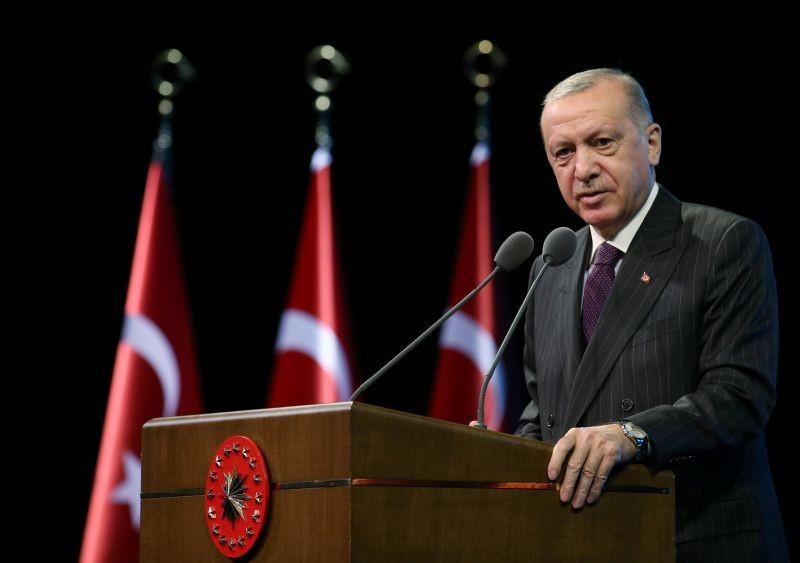 Turkish President Tayyip Erdogan makes a speech during a meeting in Ankara, Turkey October 6, 2020. (REUTERS Photo)