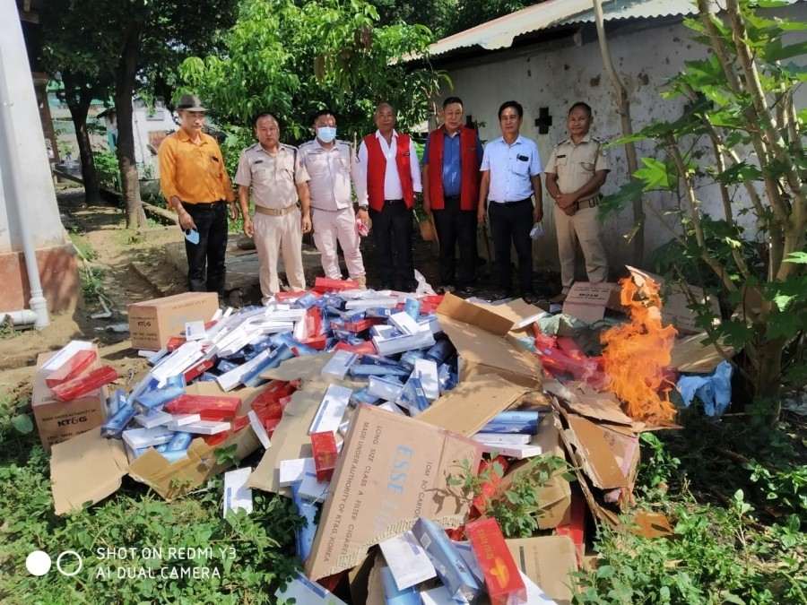 Illegally imported packets of cigarettes being destroyed on October 17.