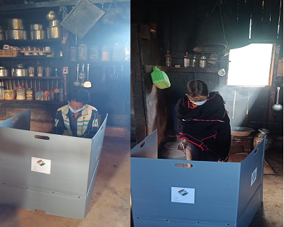 Elderly voters are seen exercising their franchise from homes for the upcoming bye-election to 60-Pungro-Kiphire (ST) Assembly Constituency in this collage photo from a tweet shared by DC&DEO, Kiphire on October 27. (Image Courtesy: @DCKiphire/Twitter)
