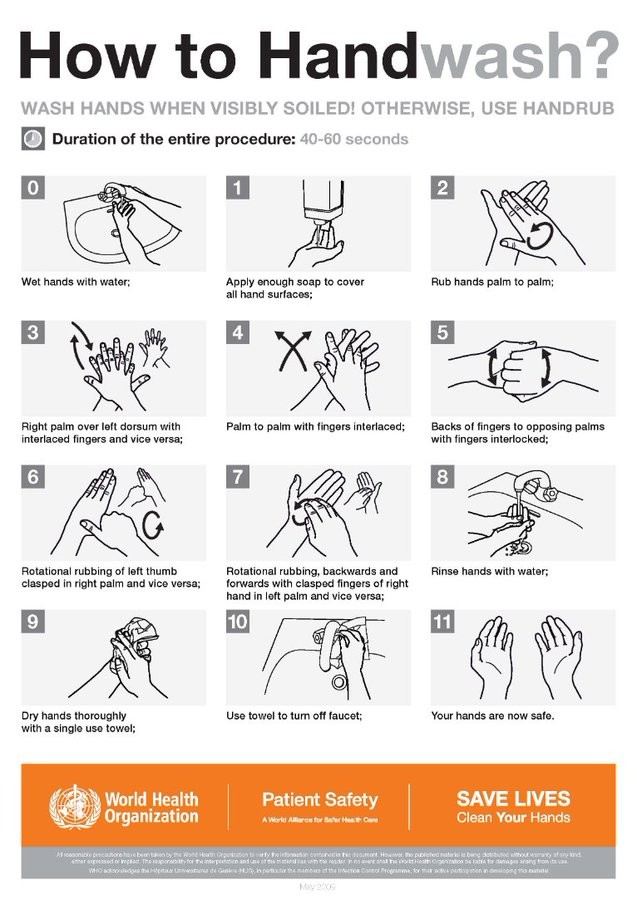 WHO's instruction on handwashing  (Photo:  @WHO/Twitter)