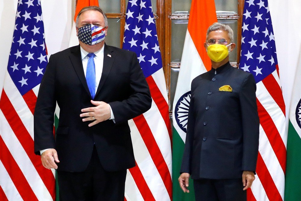 U.S. Secretary of State Mike Pompeo and India's Foreign Minister Subrahmanyam Jaishankar stand during a photo opportunity ahead of their meeting at Hyderabad House in New Delhi, India, October 26, 2020. REUTERS/Adnan Abidi/Pool