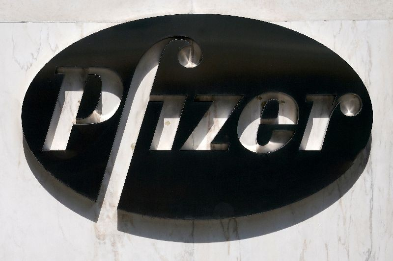 FILE PHOTO: FILE PHOTO: A sign is pictured outside Pfizer Headquarters in the Manhattan borough of New York City, New York, U.S., July 22, 2020. REUTERS/Carlo Allegri/File Photo/File Photo