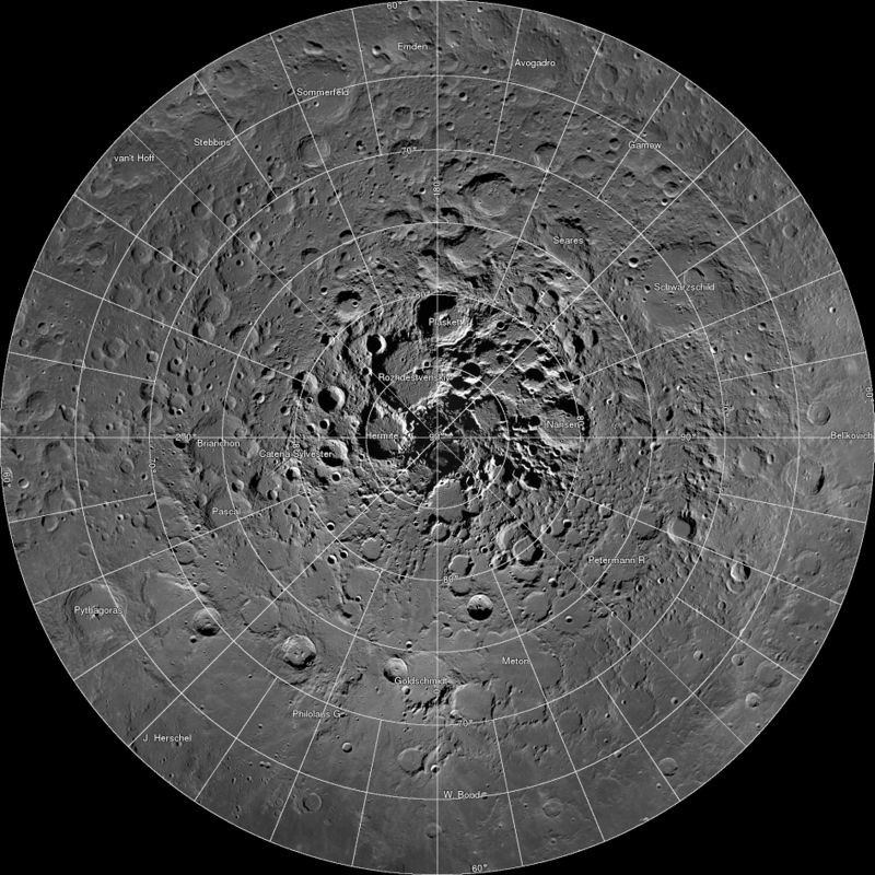 A high resolution mosaic of our moon's north polar region is seen in this undated handout image taken by scientists using cameras aboard NASA's Lunar Reconnaissance Orbiter (LRO). (REUTERS File Photo)