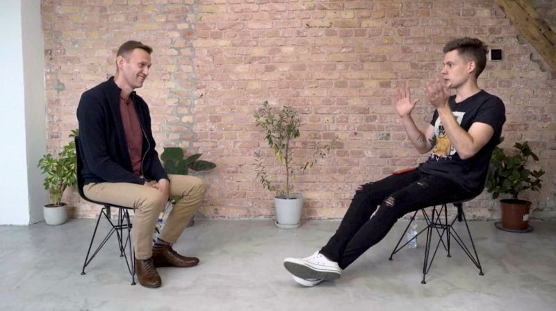 Russian opposition politician Alexei Navalny attends an interview with prominent Russian YouTube blogger Yury Dud, in Berlin, Germany, in this still image taken from a handout video released on October 6, 2020. (REUTERS Photo)
