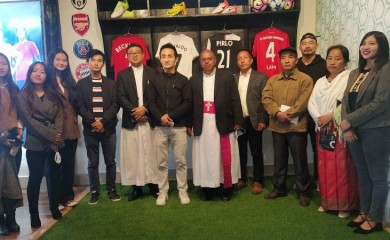 Most Rev Dr James Thoppil, Bishop, Diocese of Kohima seen with Dikhri Wezah and others during the opening of Soccer Cafe on November 28. (Morung Photo)