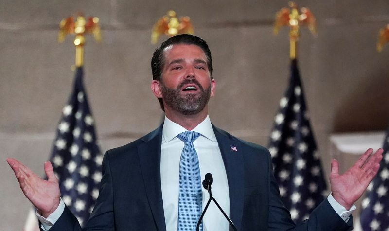 FILE PHOTO: Donald Trump Jr. delivers a pre-recorded speech to the largely virtual 2020 Republican National Convention from Washington, U.S., August 24, 2020. REUTERS/Kevin Lamarque/File Photo