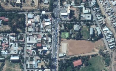 FILE PHOTO: Vehicles queue for gas in Mekelle, Ethiopia November 23, 2020. Picture taken November 23, 2020. Satellite image ©2020 Maxar Technologies/Handout via REUTERS/File photo