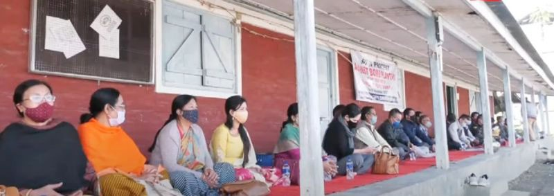 Employees of the CAF&PD Department protesting in Imphal on November 19. (NNN Photo)