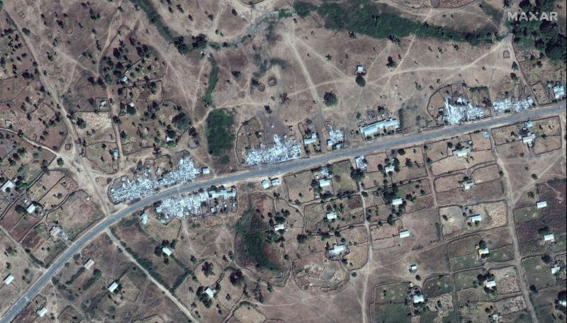 An overview of destroyed buildings near Dansha airport in Dansha, Ethiopia, is seen in this satellite image taken November 18, 2020 and supplied by Maxar Technologies. (REUTERS Photo)