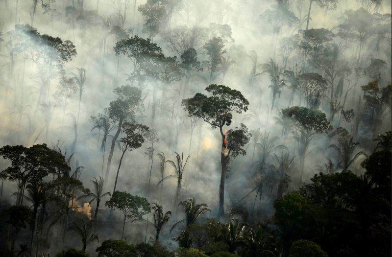Smoke billows during a fire in an area of the Amazon rainforest near Porto Velho, Rondonia State, Brazil, September 10, 2019. (REUTERS File Photo)
