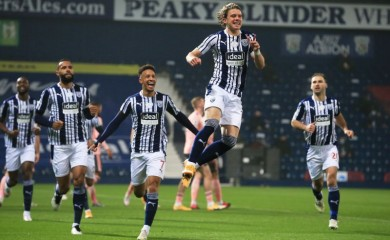 West Bromwich Albion's Conor Gallagher celebrates scoring their first goal Pool via REUTERS/Lindsey Parnaby
