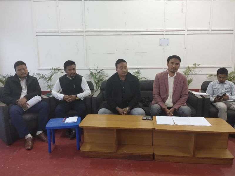 ENSF officials addressing media persons during a press conference held at Kohima on November 26.