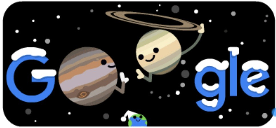 The screenshot of the Google homepage shows Google Doodle celebrating Winter Solstice 2020 and the Great Conjunction. Jupiter and Saturn will merge in the night sky December 21, appearing closer to one another than they have since Galileo's time in the 17th century. The merger should be easily visible around the world a little after sunset, weather permitting. (Screenshot/Morung Photo)