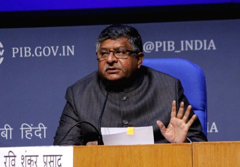 Union Law and Justice, Electronics and Information Technology and Communications Minister Ravi Shankar Prasad addresses a press conference, in New Delhi on December 16, 2020. (IANS Photo)