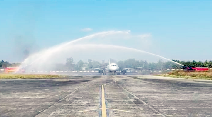 Water cannon salutes welcome the inaugural Indigo 6E 2433 Delhi-Dimapur flight on December 26 at Dimapur Airport. (Morung Photo/Screenshot)