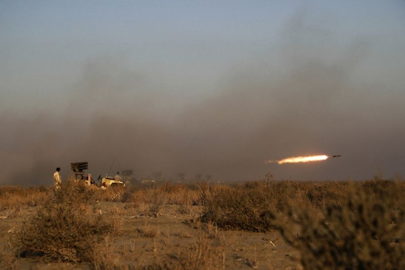 This photo released on January 19, 2021, by the Iranian Army, shows a missile being fired during a military drill. Iran's military kicked off a ground forces drill on Tuesday along the coast of the Gulf of Oman, state TV reported, the latest in a series of snap exercises that the country is holding amid escalating tensions over its nuclear program and Washington's pressure campaign against Tehran. (AP/PTI Photo)