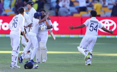 Indian players celebrate after defeating Australia by three wickets on the final day of the fourth cricket test at the Gabba, Brisbane, Australia on January 19, 2021.India won the four test series 2-1.  (AP/PTI)