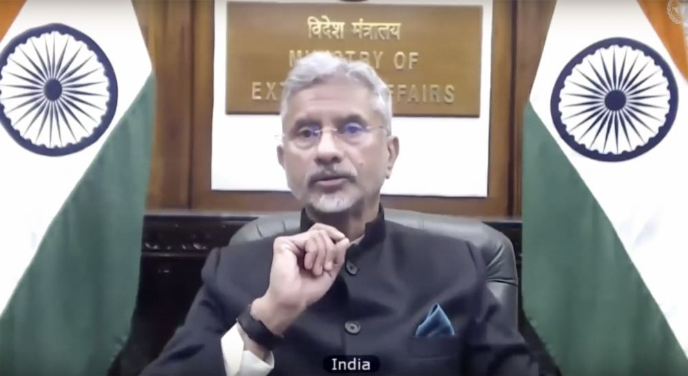 New Delhi: External Affairs Minister Dr. S Jaishankar during the United Nations Security Council (UNSC) open debate on 'Threats to International Peace and Security', via video conferencing, in New Delhi, Tuesday, Jan. 12, 2021. (PTI Photo)