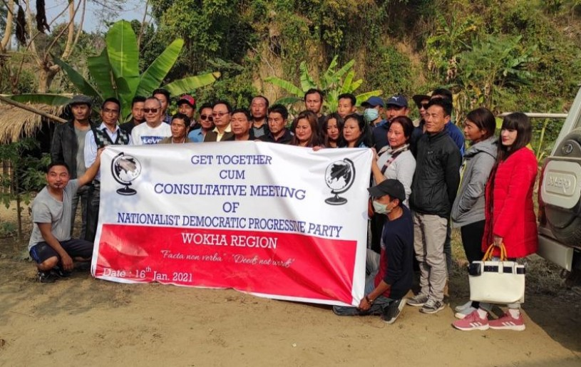 Tali Pongen,  TL Merry and  L Meribemo Kinghen along with Wokha district NDPP party workers at Longjung village on January 16. (Photo Courtesy: Media Cell, NDPP Wokha Region)